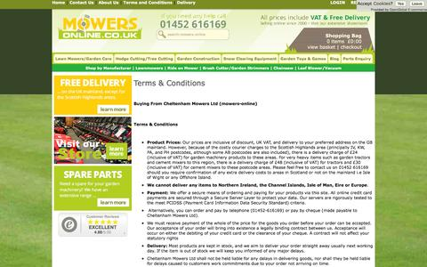 Screenshot of Terms Page mowers-online.co.uk - Information - Cheltenham Mowers Ltd - captured Jan. 22, 2016