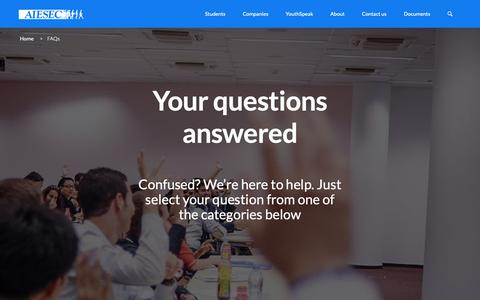Screenshot of FAQ Page aiesec.hk - AIESEC in Hong Kong |   FAQs - captured Nov. 12, 2018