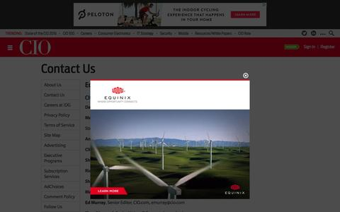 Screenshot of Contact Page cio.com - Contact Us - captured Feb. 9, 2016
