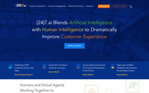 Screenshot of Home Page 247.ai - Redefining Customer Acquisition and Engagement | [24]7.ai - captured Feb. 11, 2019