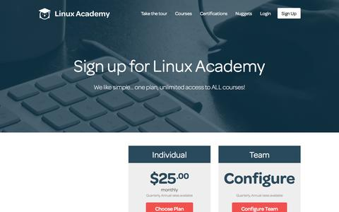 Screenshot of Pricing Page linuxacademy.com - Linux Academy   Linux and AWS Online Training - captured Oct. 1, 2015