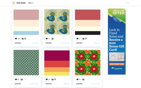 Screenshot of Home Page colordudes.com - Color Dudes Amazing Color Palettes and Seamless Patterns - captured Oct. 20, 2017