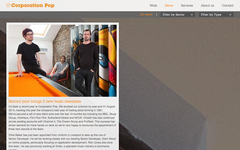 Screenshot of Press Page corporationpop.co.uk - News - - captured Sept. 30, 2014