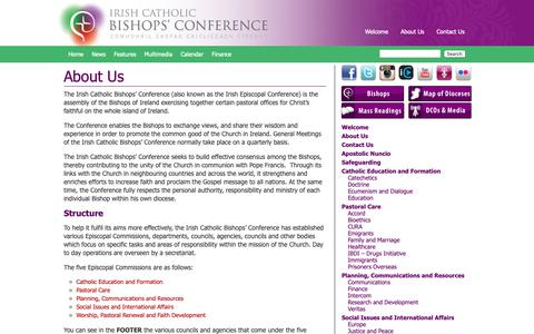 Screenshot of About Page catholicbishops.ie - Irish Catholic Bishops' Conference |   About Us - captured Oct. 12, 2018