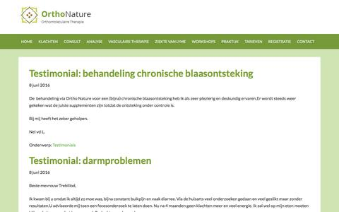 Screenshot of Testimonials Page orthonature.nl - Testimonials Archives - Orthonature - captured Feb. 14, 2018