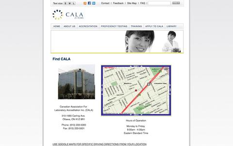 Screenshot of Contact Page Maps & Directions Page cala.ca - CALA - captured Oct. 22, 2014