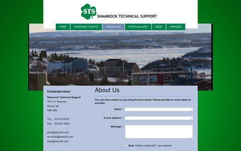 Screenshot of Contact Page stsnorth.com - Shamrock Technical Support - Contact Us - captured Nov. 29, 2016
