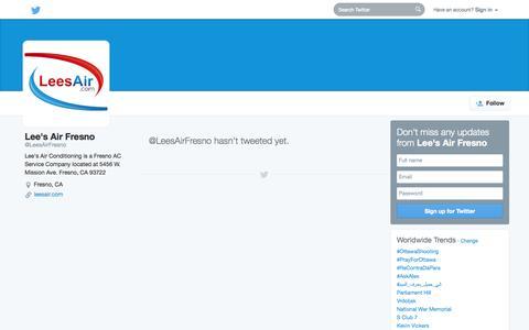 Screenshot of Twitter Page twitter.com - Lee's Air Fresno (@LeesAirFresno) | Twitter - captured Oct. 22, 2014
