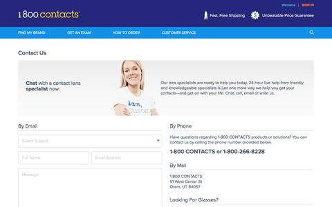Screenshot of Contact Page 1800contacts.com - Contact Us   1-800 CONTACTS - captured Sept. 21, 2018