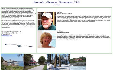 Screenshot of About Page gottscove.com - Rich Start, Carol Start, Jerry Jones - captured Oct. 3, 2014