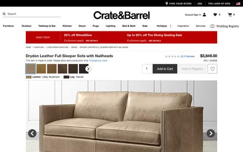 Dryden Leather Full Sleeper Sofa with Nailheads   Crate and Barrel