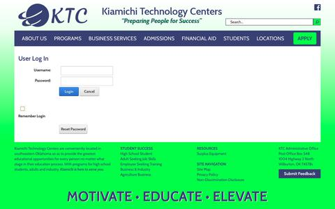 Screenshot of Login Page ktc.edu - User Log In - captured Oct. 31, 2018