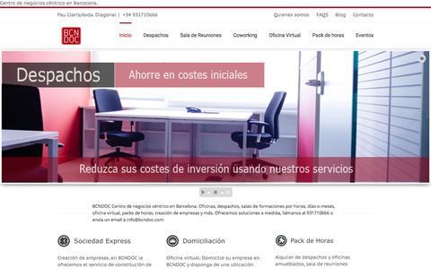 Screenshot of Home Page bcndoc.com - Centro de negocios en Barcelona - captured Feb. 7, 2016