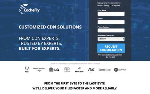 Screenshot of Landing Page cachefly.com - CDN Free Trial | Content Delivery Network | CacheFly - captured Nov. 2, 2016
