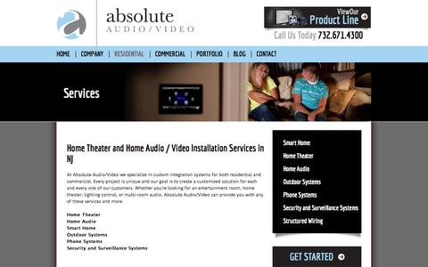 Screenshot of Services Page absoluteav.net - Absolute Audio / Video   Services - captured Oct. 4, 2014