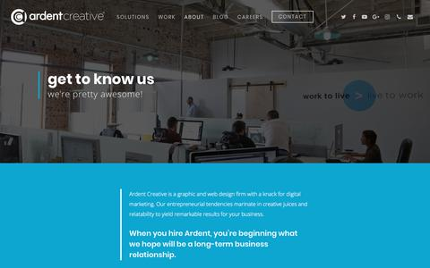 Screenshot of About Page ardentcreative.com - About Ardent Creative | Graphic & Web Design | Dallas Fort Worth SEO - captured April 14, 2018