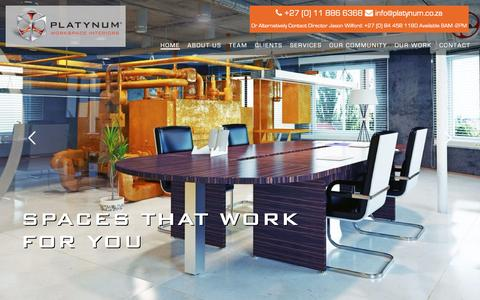 Screenshot of Home Page platynum.co.za - Turnkey Office Interiors | Office Space Planning | Platynum - captured Nov. 8, 2016