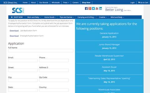Screenshot of Jobs Page scsdirectinc.com - Careers - SCS Direct Inc - captured Dec. 19, 2015
