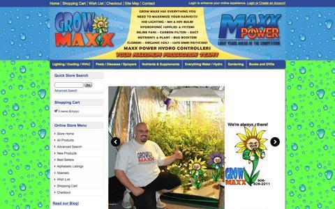 Screenshot of Home Page growmaxx.com - Grow Maxx | Michigan Garden Supply | Lighting | Nutrients | Hyrdoponics | Organic Soils - captured March 4, 2016