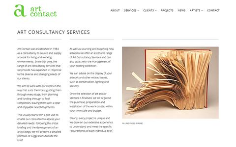Screenshot of Services Page artcontact.co.uk - Art Consultancy Services - Services offered by Art Contact - captured Oct. 4, 2018