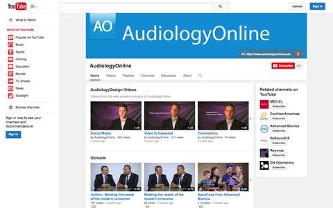Screenshot of YouTube Page youtube.com - AudiologyOnline  - YouTube - captured Oct. 23, 2014