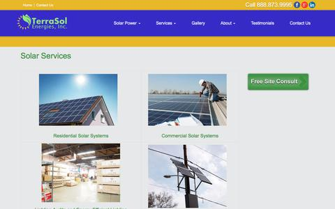Screenshot of Products Page Services Page terrasolenergies.com - Solar Services | TerraSol Energies - captured Nov. 8, 2017
