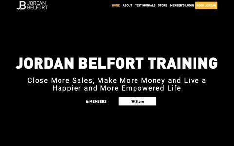 Screenshot of Home Page jordanbelfort.com - Home - Jordan Belfort | The Wolf of Wall Street - captured Jan. 21, 2019