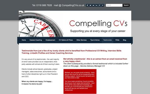 Screenshot of Testimonials Page compellingcvs.co.uk - CV Writing Testimonials - captured July 20, 2018