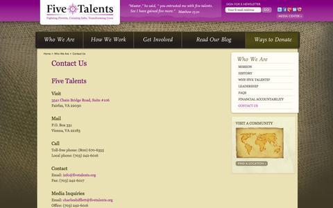 Screenshot of Contact Page fivetalents.org - Contact Us - Five Talents - captured Sept. 19, 2014