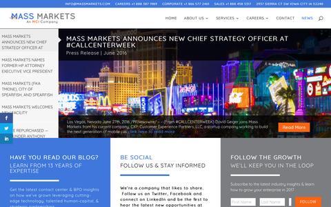 Screenshot of Press Page massmarkets.com - NEWS | Mass Markets Contact Center News & Industry Insights - captured May 2, 2017