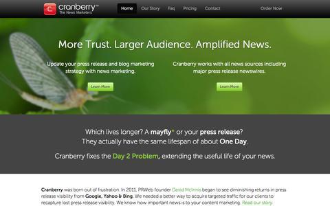 Screenshot of Home Page cranberry.com - Cranberry - captured Oct. 3, 2014