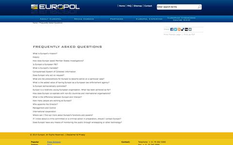 Screenshot of FAQ Page europa.eu - Frequently Asked Questions | Europol - captured Sept. 19, 2014