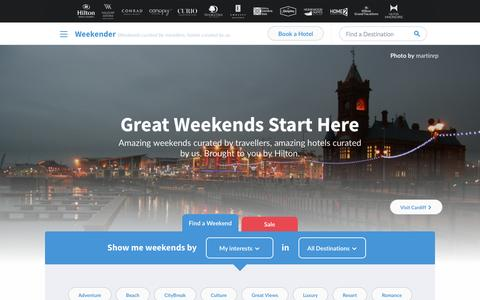 Screenshot of Home Page hiltonweekends.co.uk - Hilton Weekends - City Breaks for Couples & Families - captured Jan. 26, 2015