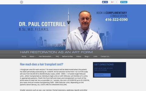 Screenshot of Pricing Page drcotterill.com - Toronto Hair Restoration Cost | Dr. Paul Cotterill - captured Dec. 1, 2016