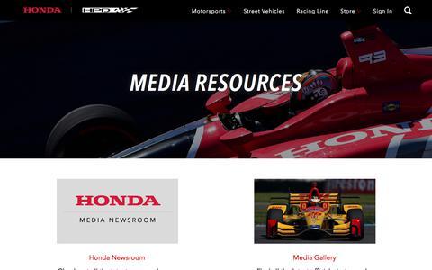 Screenshot of Press Page honda.com - Media | Honda Motorsports - captured June 29, 2019