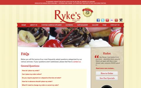 Screenshot of FAQ Page rykes.com - FAQs - Ryke's Bakery, Catering, & Cafe - Muskegon MI Ryke's Bakery, Catering, & Cafe - captured Oct. 18, 2018