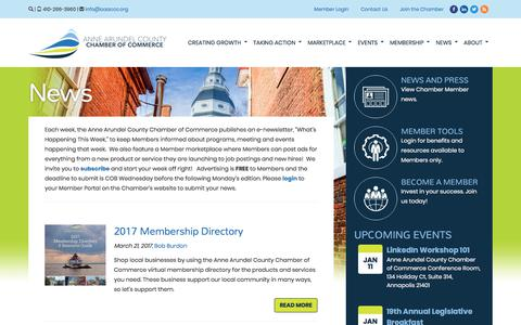 Screenshot of Press Page annearundelchamber.org - Anne Arundel Chamber of Commerce - captured Dec. 18, 2017