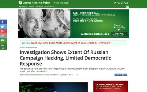 Screenshot of patch.com - Investigation Shows Extent Of Russian Campaign Hacking, Limited Democratic Response - Across America, US Patch - captured Dec. 15, 2016