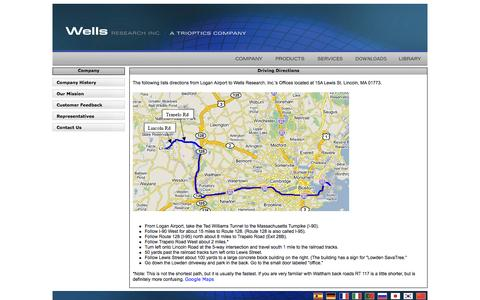 Screenshot of Maps & Directions Page wellsresearch.com - Wells Research & Development - captured Oct. 7, 2014