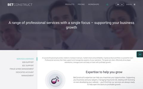 Screenshot of Services Page betconstruct.com - Online Gaming and Sports Betting Services | BetConstruct - captured May 28, 2017