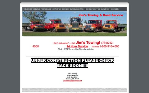 Screenshot of Testimonials Page jimstowingofmonroe.com - Jims Towing Monroe Mi. 734-242-4500 24 Hour Service - captured Oct. 1, 2014