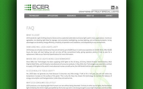 Screenshot of FAQ Page ecertechnologies.com - Ecer Technologies - Faq - captured Sept. 30, 2014