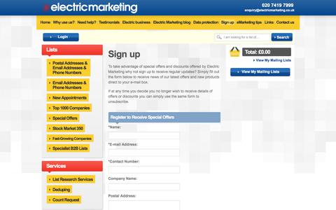 Screenshot of Signup Page electricmarketing.co.uk - Sign up for news on UK Business-to-Business Mailing Lists & eMail Lists from Electric Marketing - captured Sept. 25, 2018