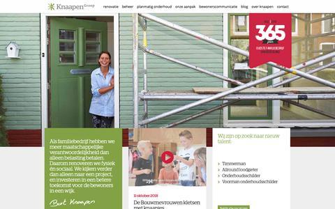 Screenshot of Home Page knaapen.nl - KnaapenGroep: renovatie, onderhoud en beheer met gevoel - captured Oct. 15, 2018