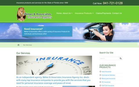 Screenshot of Services Page rweber.org - Our Services | Weber & Associates Insurance Agency, Inc. - captured Feb. 14, 2016