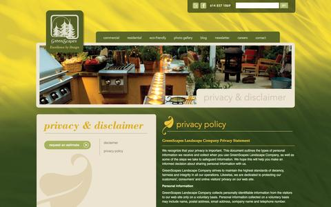 Screenshot of Privacy Page greenscapes.net - Privacy Policy | Greenscapes - captured Feb. 2, 2016