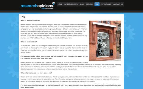 Screenshot of FAQ Page researchopinions.co.uk - FAQ - captured Nov. 4, 2014