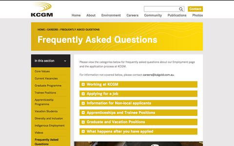Screenshot of FAQ Page superpit.com.au - Frequently Asked Questions - KCGM - captured Feb. 12, 2016