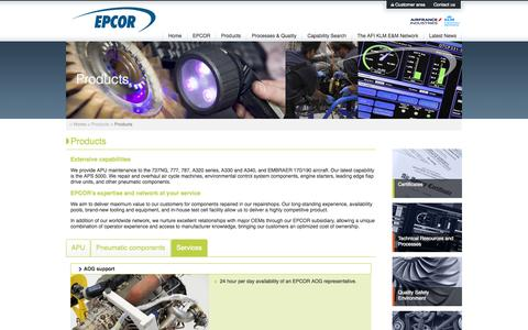 Screenshot of Services Page epcor.nl - EPCOR Products - captured Oct. 2, 2014