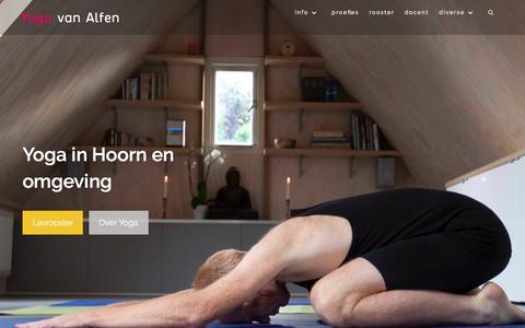 Screenshot of Home Page yogavanalfen.nl - Yoga van Alfen - Yoga in Hoorn en omgeving - captured Sept. 21, 2018